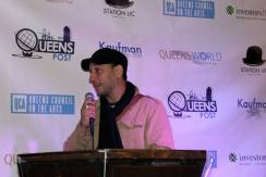 Fred Zara accepting an award for Timothy Neil Williams for Best Actor at the Queens World Film Festival