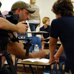 Shooting the classroom scene on set with Fred Zara, Aviva Christie, Karma Clark and Evan Huit