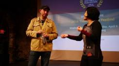 Fred Zara with Susan Fou during a Q&A after a screening at the Trenton Film Festival
